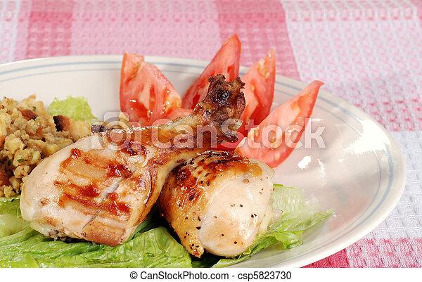 barbacoa, pollo, comida, palillos - csp5823730