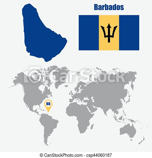 Barbados Map On A World Map With Flag And Map Pointer Vector Illustration