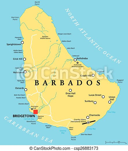 Barbados political map with capital bridgetown with vectors