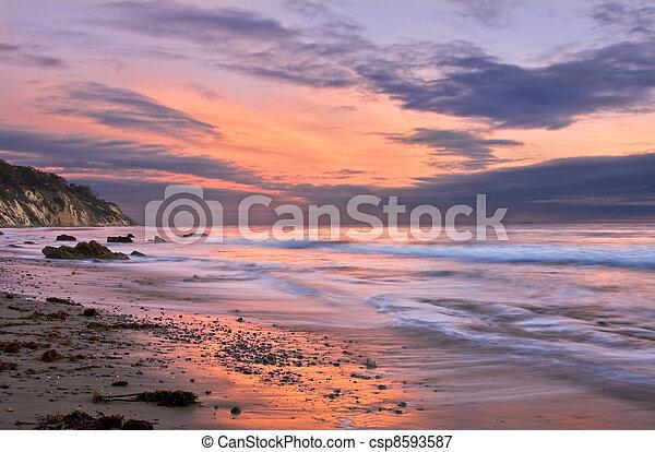 barbara, coucher soleil, santa - csp8593587