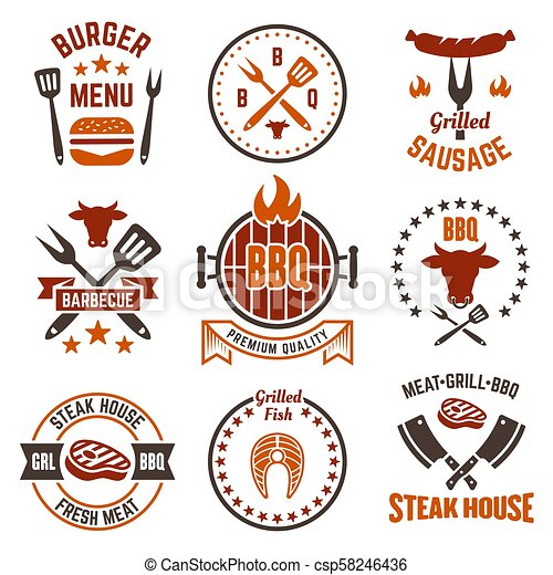 Barbecue and grill colored labels, badges, emblems - csp58246436