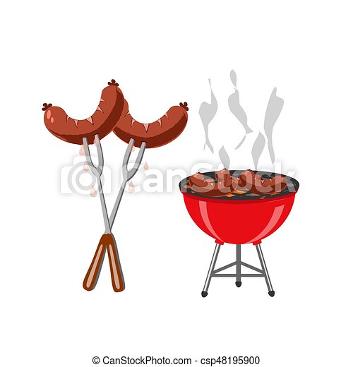 Barbecue and grilled dishes, sausages, hot dog. Snack to beer at the festival. illustration - csp48195900