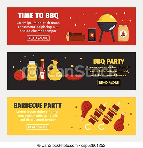 Barbecue and steak three horizontal banners - csp52661252
