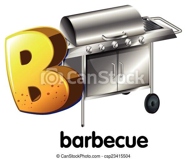barbecue, b, lettera - csp23415504