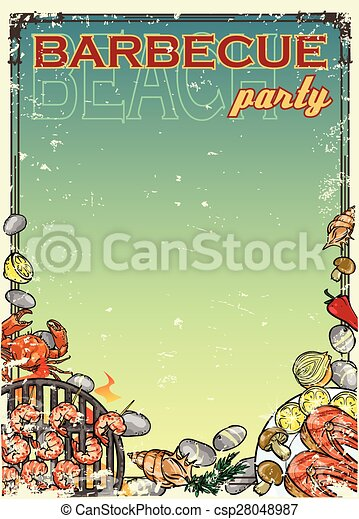 Barbecue background with space for text - csp28048987
