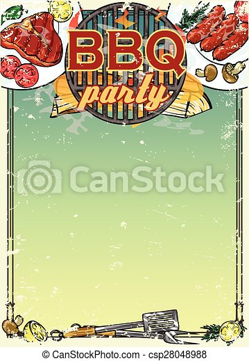 Barbecue background with space for text - csp28048988