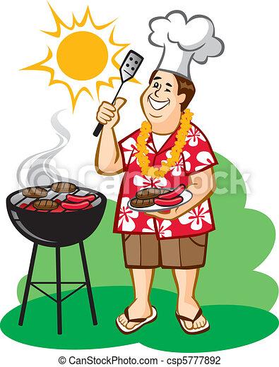 Dessin Barbecue barbecue, (bbq), papa. vecteur, être, autour de, fleur, chemise