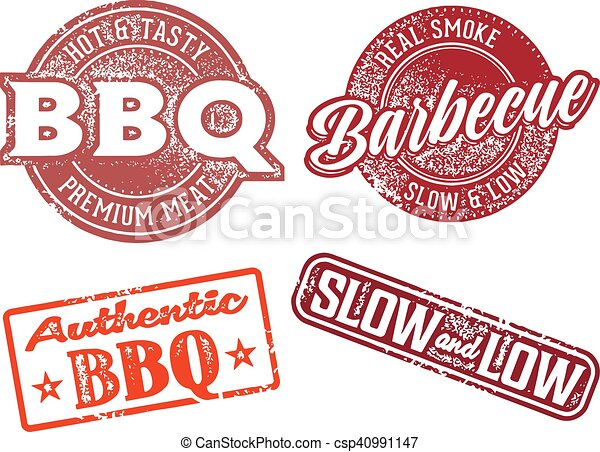 Barbecue BBQ Vintage Rubber Stamp - csp40991147