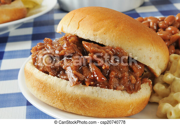 barbecue, broodje, closeup, rundvlees - csp20740778