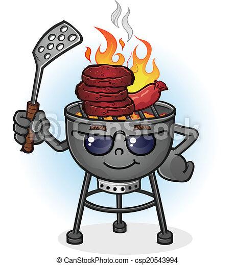 Dessin Barbecue barbecue, caractère, dessin animé, gril. gril, lunettes soleil