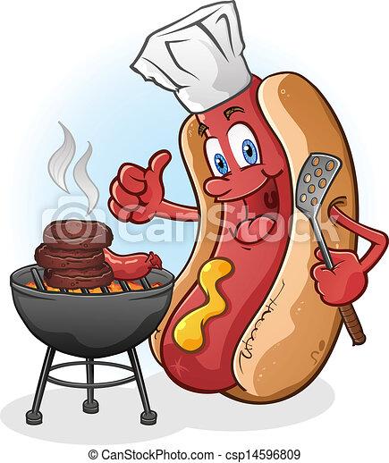 barbecue, chaud, grillade, chien, dessin animé - csp14596809