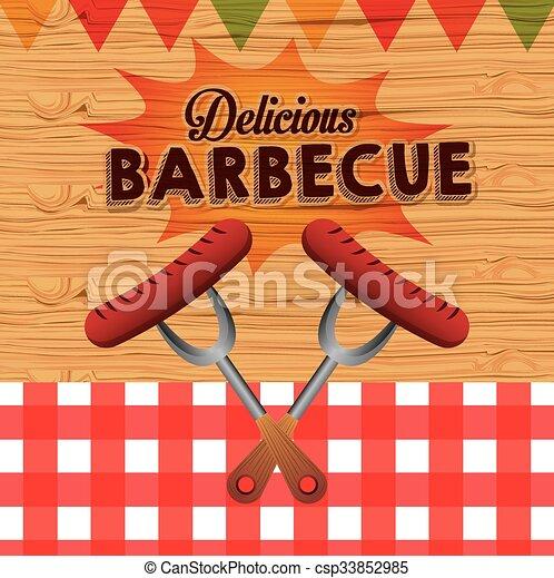 barbecue, conception, délicieux - csp33852985