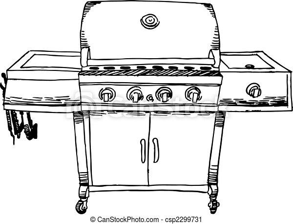 Dessin Barbecue barbecue, dessin. image, cuisine, white., dehors.