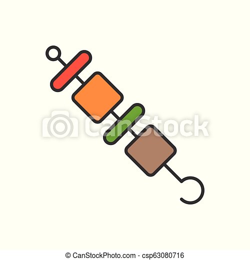 barbecue, gastronomy and Food set, filled outline icon - csp63080716