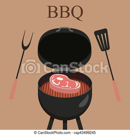 Barbecue grill party. Vector illustration with grill and steak - csp43499245