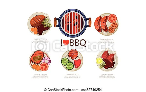 Barbecue icons set, grilled food menu flat vector Illustration on a white background - csp63749254