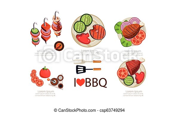 Barbecue icons set, grilled food menu design elements flat vector Illustration on a white background - csp63749294