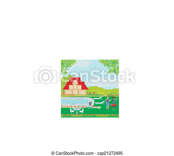 barbecue in the garden - csp21272495