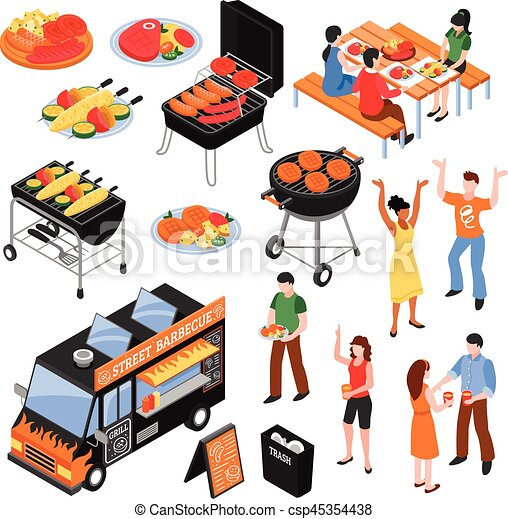 Barbecue Isometric Set - csp45354438