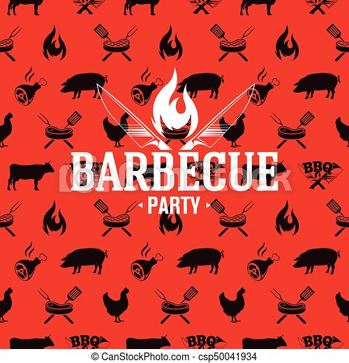 Barbecue logo on red seamless pattern, vector illustration - csp50041934
