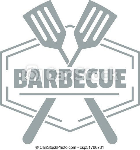 Barbecue logo, simple gray style - csp51786731