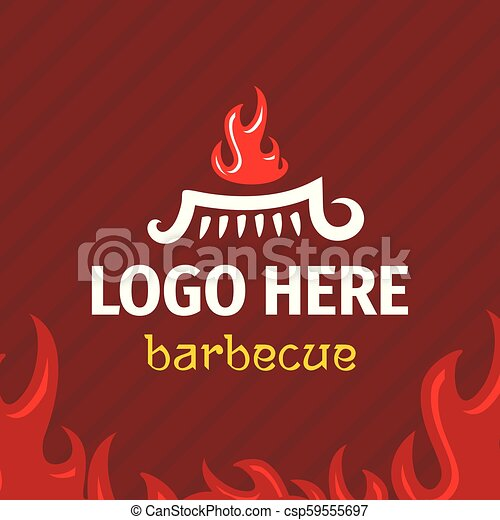 Barbecue logo template with logogram fire on grill. - csp59555697