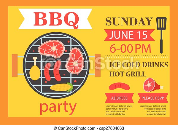 Barbecue party invitation. BBQ template flyer - csp27804663