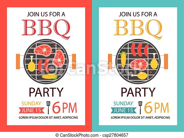 Barbecue Party Invitation Bbq Template Flyer Vector  Clipart