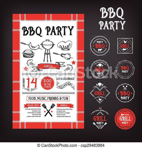 Barbecue party invitation. BBQ template menu design.  - csp29483884