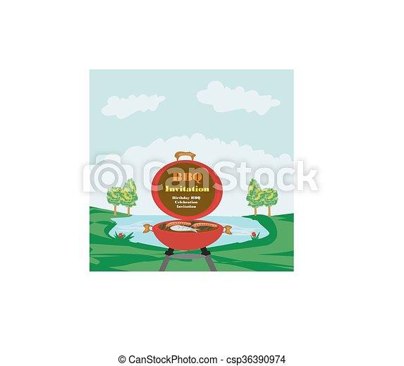 Barbecue Party Invitation  - csp36390974