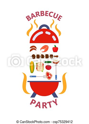 Barbecue party products set concept vector illustration flat style isolated. Grilled food outdoor family kitchen meat, salmon, barbecue, sausages, vegetables. - csp75329412