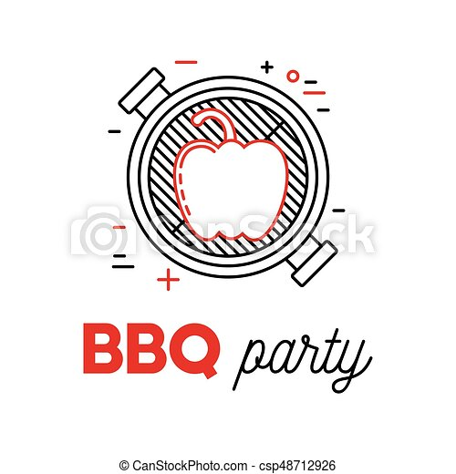 Barbecue party with grill and pepper - csp48712926