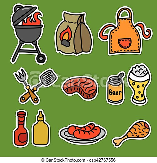 barbecue picnic stickers - csp42767556