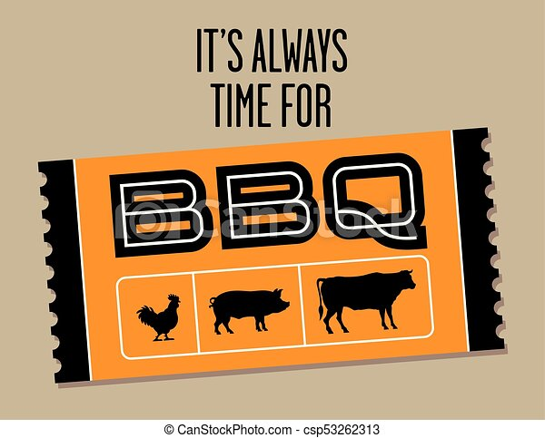 Barbecue Ticket vector design with cow, pig and chicken. - csp53262313