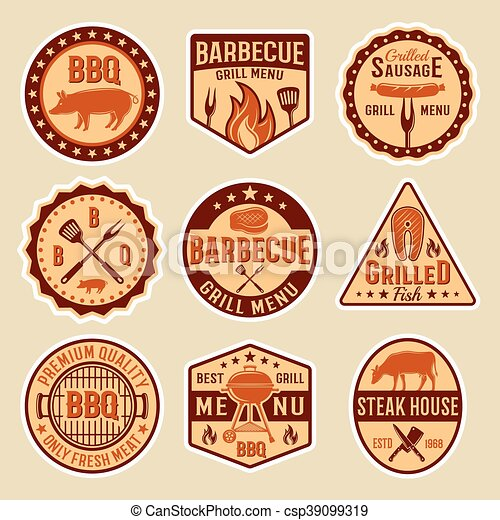 Barbecue Vintage Style Emblems - csp39099319
