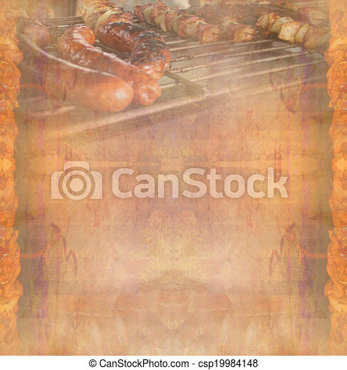 barbecue with delicious grilled meat ,Abstract vintage frame - csp19984148