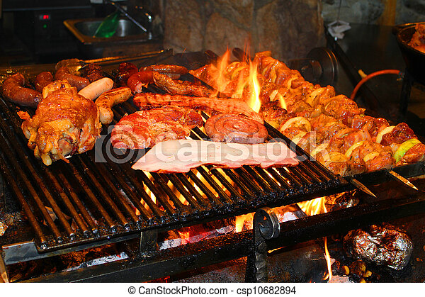 barbecue with delicious grilled meat - csp10682894