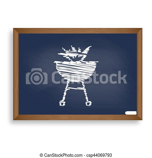 Barbecue with fire sign. White chalk icon on blue school board w - csp44069793