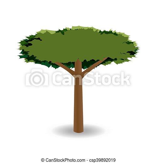 barbed., 王冠, 木, イラスト, 図画, 定型, 緑, ラウンド - csp39892019
