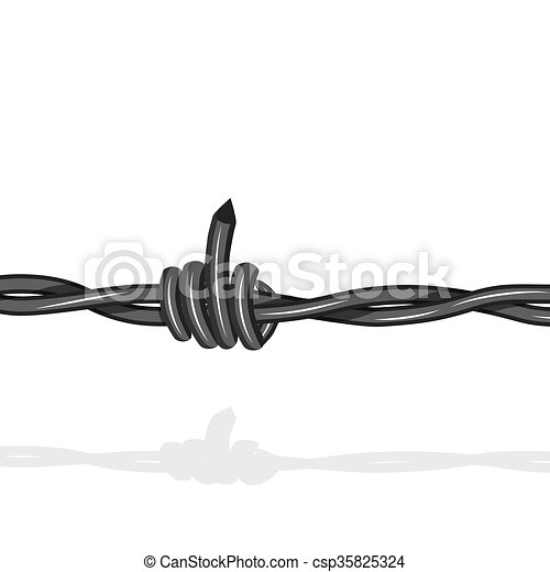Barbed lookslike fuck off with the middle finger wire seamless background. Vector fence illustration isolated on white. Protection concept design. - csp35825324