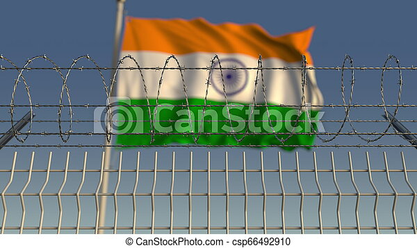 Barbed wire against waving flag of India. 3D rendering - csp66492910