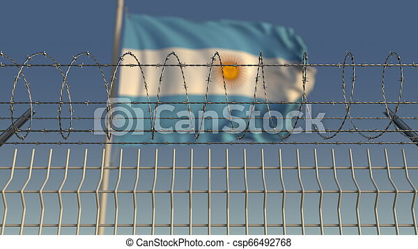 Barbed wire against waving flag of Argentina. 3D rendering - csp66492768