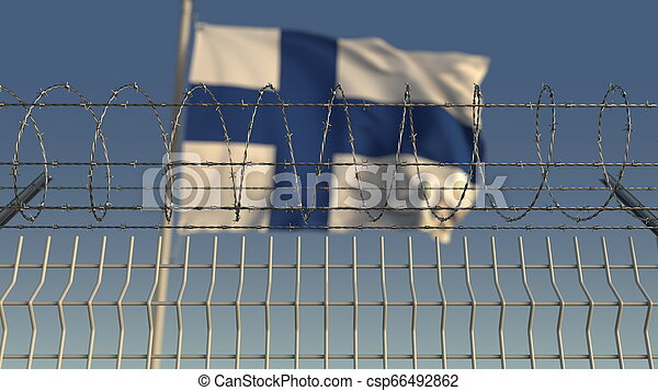 Barbed wire against waving flag of Finland. 3D rendering - csp66492862