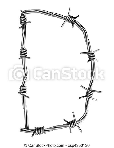 Barbed wire alphabet, d. Letter, made of barbed wire.
