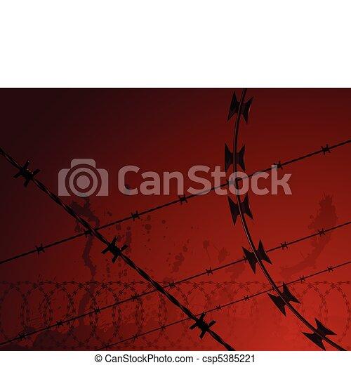 Barbed wire background - csp5385221