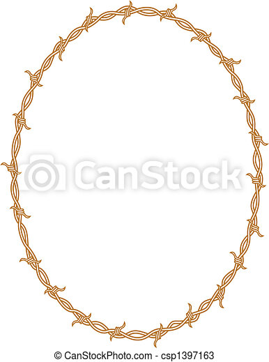 Barbed wire border frame background - csp1397163