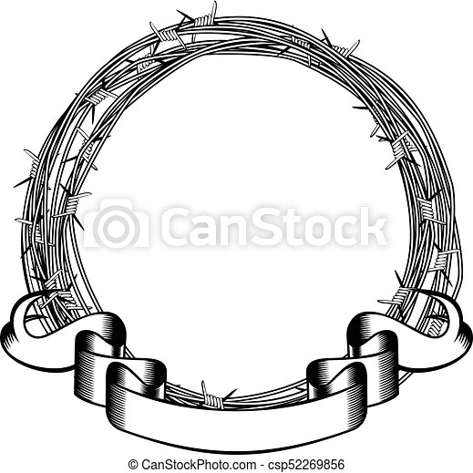barbed wire frame - csp52269856