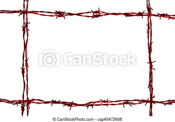 Barbed wire frame on the white background.