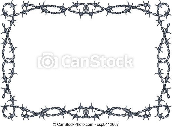 Barbed wire frame vector. Vector barbed wire frame pattern isolated ...