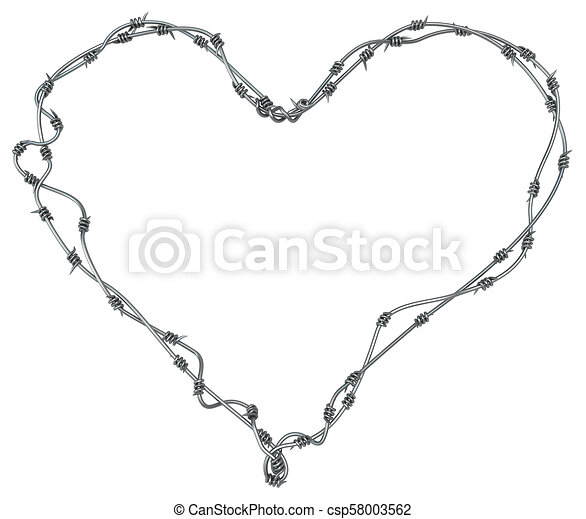 Barbed wire heart, grey metal 3d illustration, isolated,... stock ...
